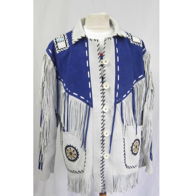 da3a404cb Men Western Leather Jacket Wear Fringes Beads Native American Cowboy Coat