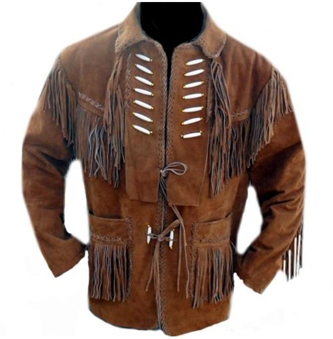 Men Brown Suede Western Jacket Suede Leather Jacket Rebelsmarket