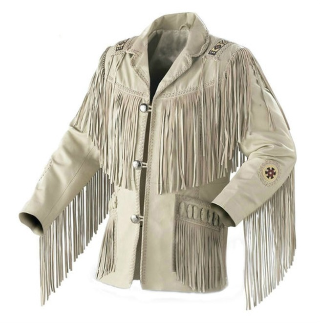 Western Men Cowboy Suede Jacket, White Suede Leather Jacket With Fringes