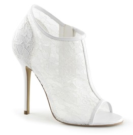 """5"""" Heel, Open Toe Bootie W/ Lace Overlay Lace Mesh"""