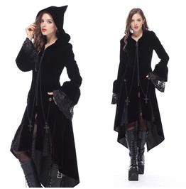 Jw109 Gothic Witch Mysterious Velvet Coat With Detachable Cross Zipper