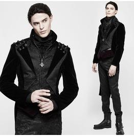 Gothic Black Jacquard And Velvet Long Coat For Men