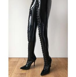 Rtbu Lulu Crotch Hi Hard Shaft Laceup 18cm Stiletto Boots Black Patent