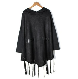 Women's Fashion Fringed Faux Suede Cloak Hoodies