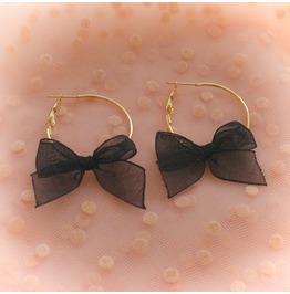 Sweetheart Gold Hoop Baby Pink Black Bow Earrings , Cute Kawaii Sweet Ddlg