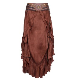 Steampunk Style Brown Plus Size Long Skirt