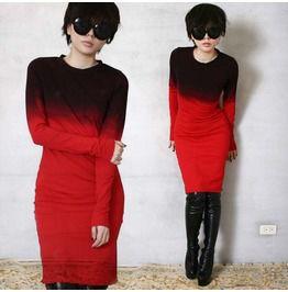 Cotton Gothic Punk Dip Tie Dye Gradient Ombre Top T Shirt Dress Blood Red