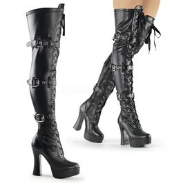 """5"""" Stack Heel, 1 1/2"""" Pf Front Lace Up Thigh Boot"""