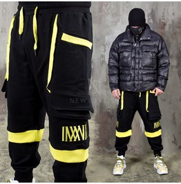 Yellow Contrast Accent Black Sweatpants 309