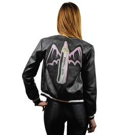 Faux Leather Bomber Jacket In Black With Pastel Goth Bat Pencil