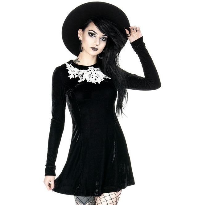 Tiberio Dark Side Dolly Collar Black Velvet Long Sleeve  1e57db2e7c8b