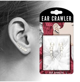 Lined Faux White Pearls Prepacked Ear Crawler Ear Climber Pair