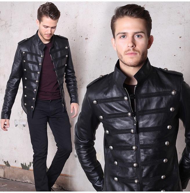 fine craftsmanship popular style comfortable feel Napoleon Military Leather Jacket