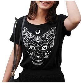 Third Eye Sphynx Cat Print Occult T Shirt Womens Top