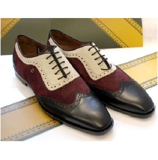 c94c31293bea8 Handmade Men Three Tone Designer Wingtip Formal Shoes, Leather Dress Shoes