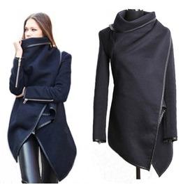Darkforest Steampunk Turtleneck Asymmetric Jacket Cardigan Womens Outerwear