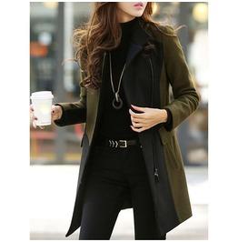 Darkforest Zip Up Asymmetric Turtleneck Long Coat Womens Outerwear
