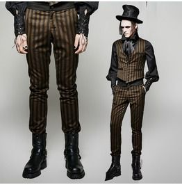 Gothic Steampunk Algernon Striped Pants