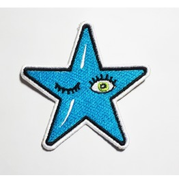 Blue Star Embroidered Iron On Patch.