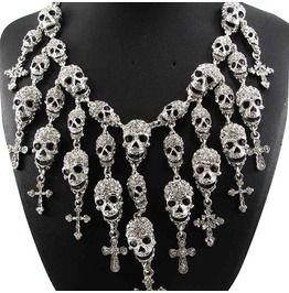 Crystal skull maxi necklace necklaces