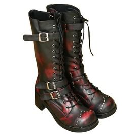 Distressed Maroon Biker Boots
