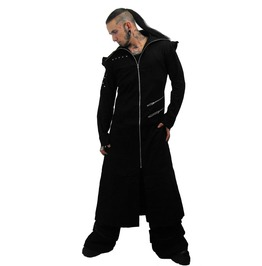 Odin Full Length Black Twill Men's Hooded Coat