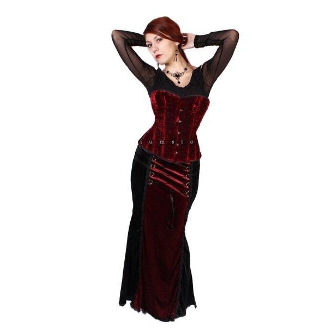 04a2383b353 Long Gothic Victorian Black Red Velvet Lace Skirt