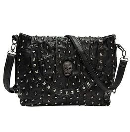 30f4c5a7b55c Patchwork Punk Rivets Skull Head Leather Shoulder Bag Messenger Bag Women