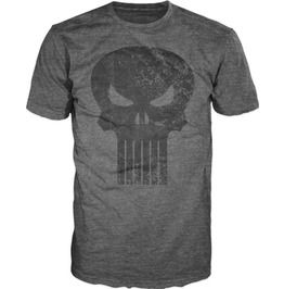 Punisher Black Skull Logo Men's Gray T Shirt Tee Shirt