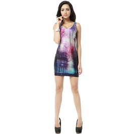 Beautiful Tree Scene Print Body Con Dress Tank Tops