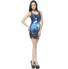Blue Sky Galaxy Fantasy Body Con Dress Tank Tops