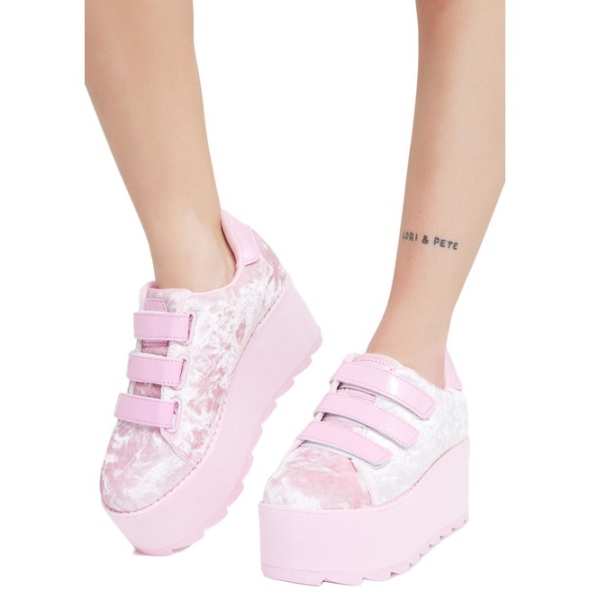 27fa8aa3c6d2 Candy Lala Pink Velvet Platform Sneakers By Yru Shoes