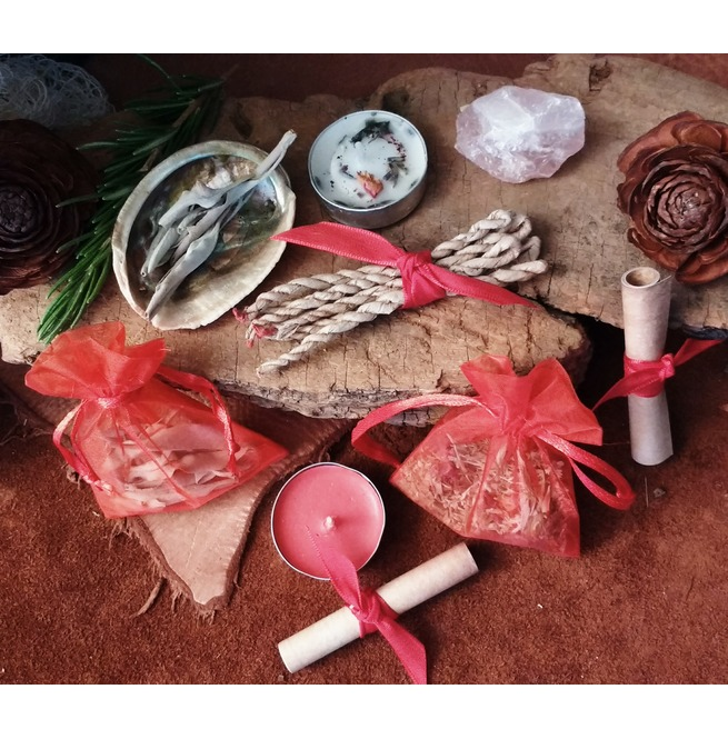 Love Spell Kit, Good Witch, Wiccan Spells, Rose Quartz, Rose Incense, Sage