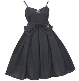 Darkforest Harajuku Lolita Cherry Print Big Bow Gothic Womens Dress