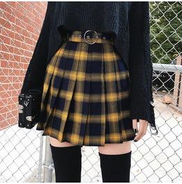 6d2895c260 Darkforest Harajuku Checkered Plaid Oversized Loose Skirt Womens Skirt