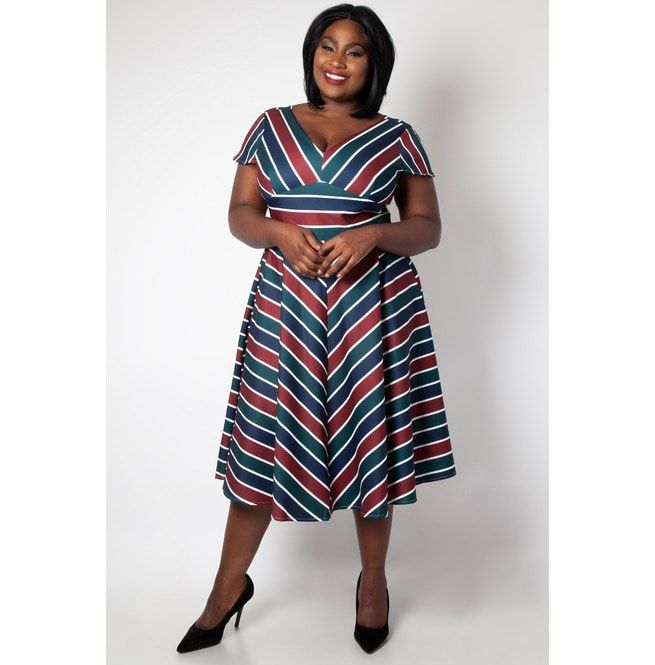 Addison Striped Swing Dress Plus Size Dress | Voodoo | RebelsMarket