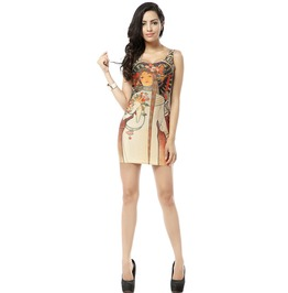 Vintage Pattern Fantasy Body Con Dress Tank Tops