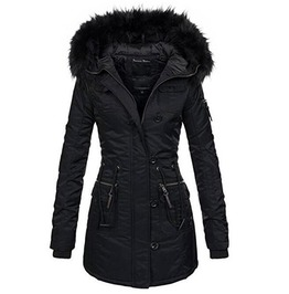 Women's V Neck Fur Collar Slim Long Coat