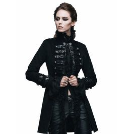 Gothic Black Belts Decorated High Collar Jacket For Women