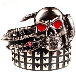 Steampunk Red Eye Skull Finger Rivets Studded Buckle Belt