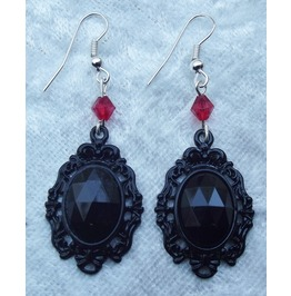 Gothic Steampunk Victorian Black Jewel Bead Earrings