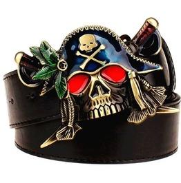 Steampunk Red Eye Pirate Skull Buckle Belt