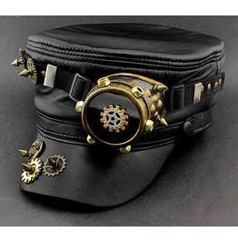 Darkforest Steampunk Gears Spikes Studded Captain Hat Mens Accessories