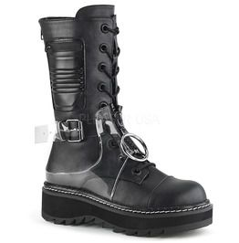 """Demonia Gothic Er Punk Heavy Metal Grunge 1 1/4"""" Pf Lace Up Mid Calf Boot, Back Zip"""