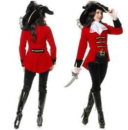 Darkforest Asymmetric High Low Red Cosplay Pirate Set Womens Costumes