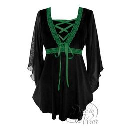 a2d7c8f6cd Sexy Gothic Victorian Sheer Sleeve Lace Trim Bewitched Corset Top In Black  Emerald