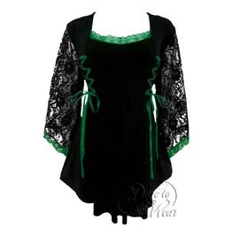 Gothic Women's Black Lace Sleeve Twin Corset Anastasia Top In Black/Emerald