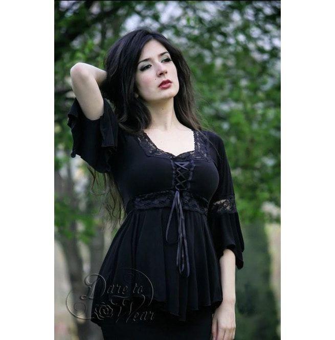 43bbc4e18a Sexy Gothic Victorian Square Neck Lace Trim Fairy Sleeve Renaissance Corset  Top In Black Pink