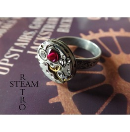 Silver Ruby Steampunk Ring Steampunk Steamretro