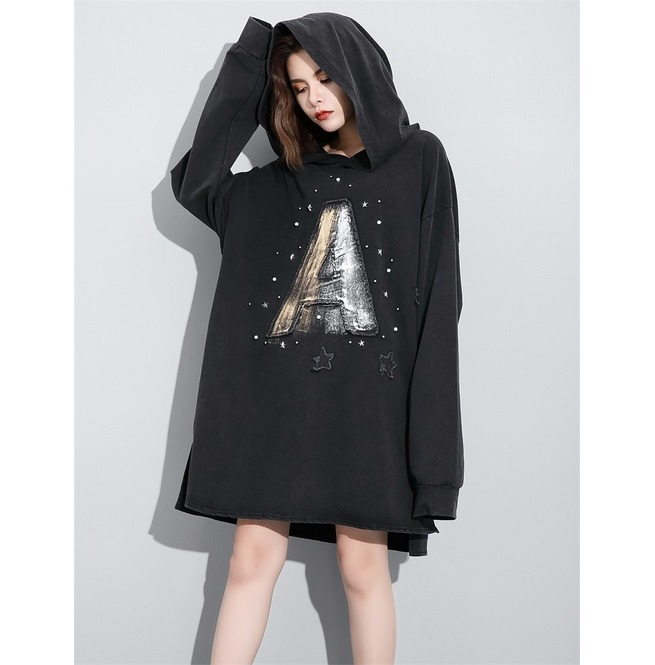 new arrive super specials pretty cool Darkforest A Print Night Theme Hooded Oversized Hoodie Womens Outerwear